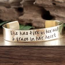 She Has Fire In Her Soul Grace In Her Heart Inspirational Bracelet