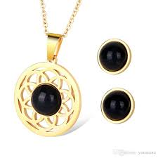 2019 fashion hollow folwer pendant necklace earrings black onyx stone earring studs necklaces gold plated jewlery sets with retail box from yum