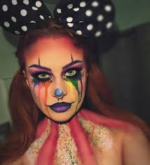 y clown makeup look with crying rainbow tears