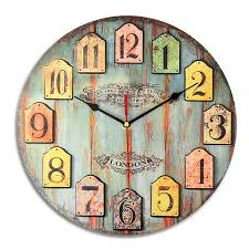 diy large wooden wall clock shabby chic rustic retro for home decor kitchen