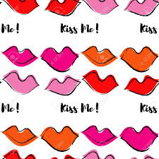 Wallpaper Lips Design Seamless Pattern With Lips Pop Art Style Cloth Design Wallpaper