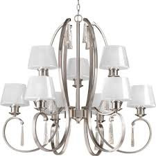 progress lighting dazzle collection 9 light brushed nickel chandelier with ice glass shade