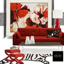 red furniture ideas. Red Accent Wall Design With Floral Wallpaper And Living Room Furniture Ideas E