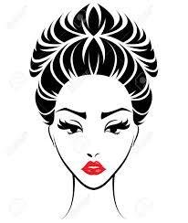 女性お団子髪のスタイル アイコンのイラストロゴ女性顔白い背景の