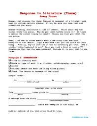 response to literature essay format com  3 response to literature essay format