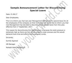 announcement format announcement letter format for discontinuing special leave hr