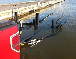 guide posts such as the ones shown here provide a visible reference where to aim a boat when the rest of a trailer is submerged out of sight
