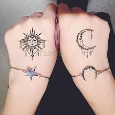 водонепроницаемая временная татуировка наклейка солнце луна временная