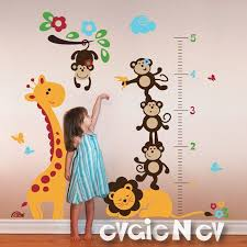 Monkey Growth Chart Wall Safari Growth Chart Wall Decal Giraffe And Monkeys On