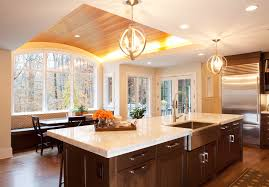 ideas for recessed lighting. Creative Kitchen Decorations With Recessed Light On Curved Wood Ceiling And Using White Marble Countertop Paint Plus Luxury Interior Design Simple Ideas For Lighting W