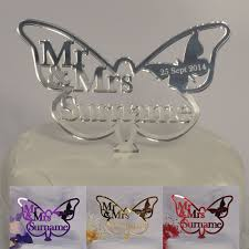 Butterfly Wedding Cake Topper Personalised Mr Mrs Surname