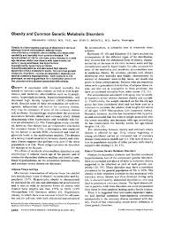 obesity and mon genetic metabolic disorders annals of internal cine american college of physicians
