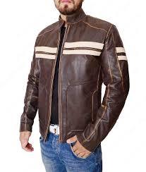 mens dark brown white stripes cafe racer jacket
