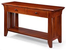 custom built solid quartersawn oak wood mission sofa table with drawers and shelf