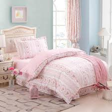 girls pink flower heart bed duvet cover sheet pillowcase 100 cotton twin size bedclothes comforter bedding sets home decor 3 or fl bedding blue bedding