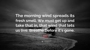 Rumi Quote The Morning Wind Spreads Its Fresh Smell We Must Get