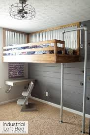 Floating loft bed Instructions Industrial Loft Bed With Rock Wall And Fireman Pole Hanging Loft Bed Plans Esnca House Industrial Loft Bed With Rock Wall And Fireman Pole Hanging Loft