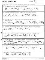 key for word equations worksheet