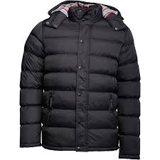 kangaroo poo mens hooded puffer jacket black