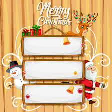Blank wooden sign with <b>merry christmas</b> lettering and <b>cartoon</b> ...