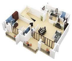 3d duplex small house plans modern