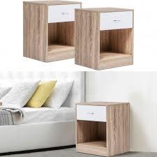 Lot de 2 tables de chevet bois façon hêtre tiroir blanc Meubles et...