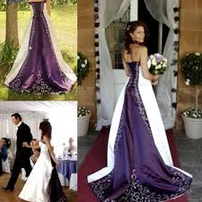 Discount 2015 Stunning White And Purple Wedding Dresses Strapless