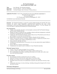 Retail Job Description Resume Clothing Retail Resume Template Sales Associate Job Description 30