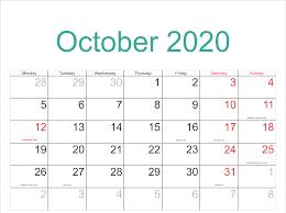 October 2020 Calendar Template Word Pdf Excel Format