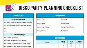 Party Planning Lists Kids Disco Parties Kids Disco Party Blog And Party Ideas