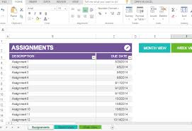 Class Planer Student Assignment Planner Template For Excel