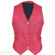 las vintage red fashion leather vest front view
