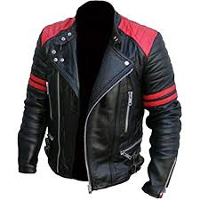 men s brand classic biker black and red vintage motorcycle 100 leather jacket