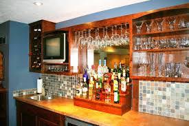 Custom home bar furniture Modern Back Wall Cabinets Ohio Basements Custom Built Home Bar Ideas In Ohio