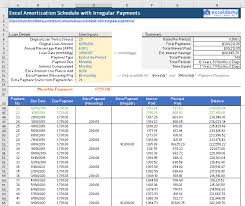 Amortized Schedule Excel Excel Amortization Schedule With Irregular Payments Free Template