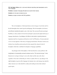 solution psy week brain lateralizatio studypool providean example of language disruption as a result of brain trauma includeone to two peer reviewed sources formatyour paper consistent apa