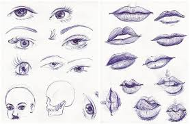 eyes and lips sketches