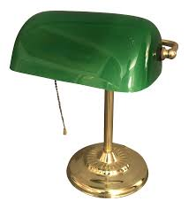 Vintage Brass Desk Lamp With Green Glass