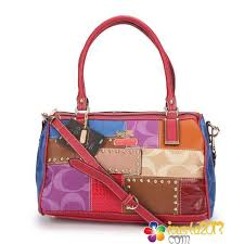 Coach Holiday Matching Stud Medium Multi Luggage Bags Red