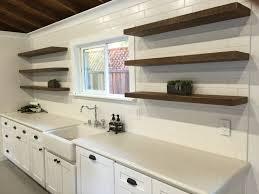 Reclaimed Wood Floating Shelves Design For White Kitchen