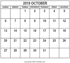 2019 October Calendar October 2019 Calendar Print 2019 Calendar