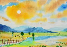 watercolor landscape original painting colorful of mountain and rice field stock ilration ilration of