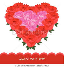 Flowers Templates Red Roses In Heart Shape Vector Card Romantic Flowers Templates
