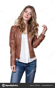 fashion studio shot of beauty fashion female model wearing brown leather jacket white shirt and blue jeans isolated on white background