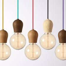 Modern Oak Wood Pendant Lights Vintage Cord Pendant Lamp Hanging