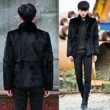 men faux fur coat fashion turn down collar faux fur full pelt fashion european style cool fur jacket