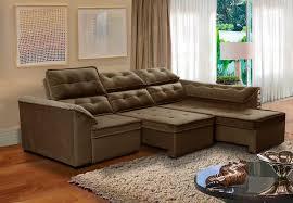 sofá 5 lugares retrátil e reclinável dallas chaise 2 90m marrom512 megl