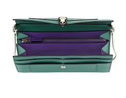 wallet pouch in emerald green and violet amethyst calf leather with purple amethyst nappa lining