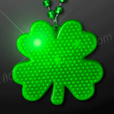 Small Picture Flashing LED Shamrock Charm on Beads Necklace from