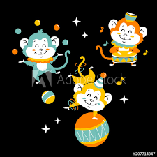 Vector Illustration Of Cute Funny Baby Monkey For Print